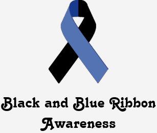 black and blue ribbon awareness mens shirt