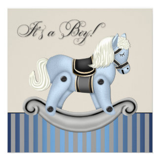 Black and Blue Rocking Horse Baby Shower Personalized Invite