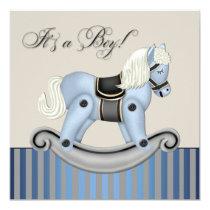Black and Blue Rocking Horse Baby Shower Invitation