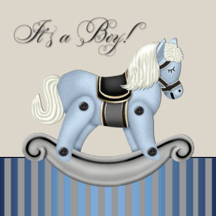 Horse baby shower invitations announcements zazzle black and blue rocking horse baby shower invitation filmwisefo