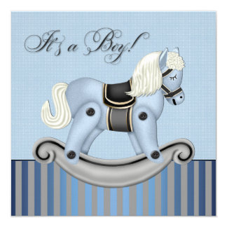 Black and Blue Rocking Horse Baby Shower Announcements