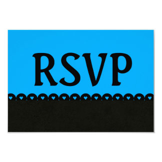 Black and Blue RSVP Hearts Scalloped Lace V5E4 Card