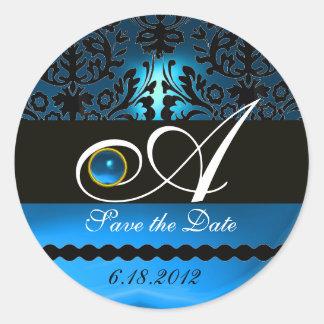 BLACK AND BLUE SAPPHIRE DAMASK MONOGRAM, CLASSIC ROUND STICKER