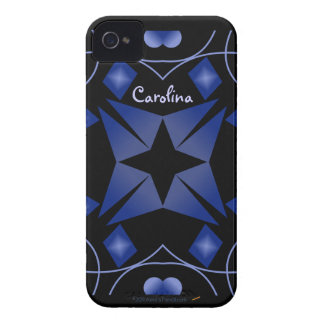 Black and Blue Shining Star Kaleidoscope Abstract Case-Mate iPhone 4 Case