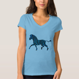 Black and Blue Silhouette Zebra T-Shirt