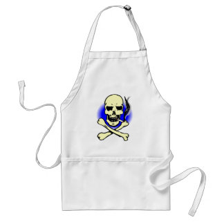 black and blue skull and crossbones smoking adult apron