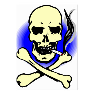 black and blue skull and crossbones smoking large business card
