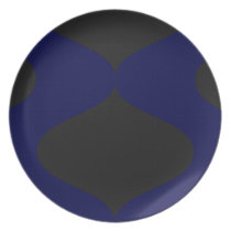 Black and Blue Smooch Melamine Plate