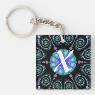 Black and Blue Snowflake Mandala Double-Sided Square Acrylic Keychain