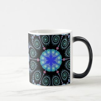 Black and Blue Snowflake Mandala Magic Mug