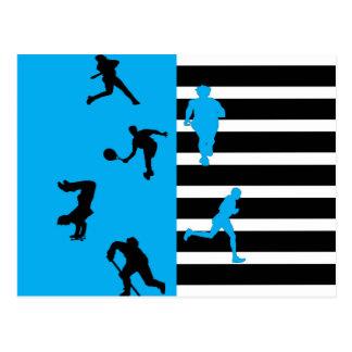 Black and blue sport theme postcard