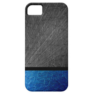 Black and Blue Stainless Steel Metallic iPhone SE/5/5s Case