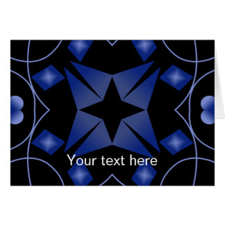 Black and Blue Star Kaleidoscope Abstract Card