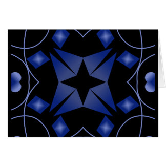 Black and Blue Star Kaleidoscope Abstract Greeting Card
