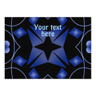 Black and Blue Star Kaleidoscope Abstract Invitations