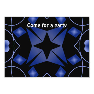 Black and Blue Star Kaleidoscope Abstract Custom Announcement