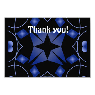 Black and Blue Star Kaleidoscope Abstract Custom Announcements