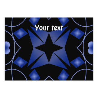 Black and Blue Star Kaleidoscope Abstract Custom Invitations