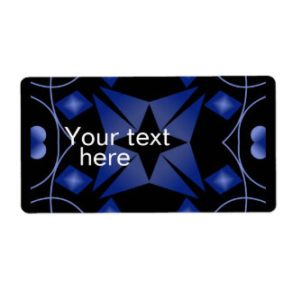 Black and Blue Star Kaleidoscope Abstract Personalized Shipping Labels