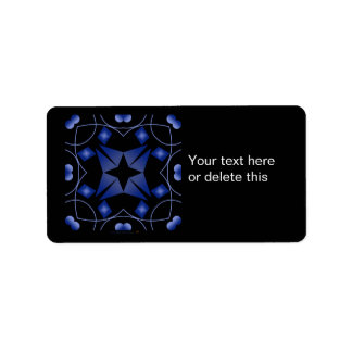 Black and Blue Star Kaleidoscope Abstract Custom Address Labels