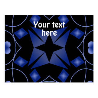 Black and Blue Star Kaleidoscope Abstract Postcard