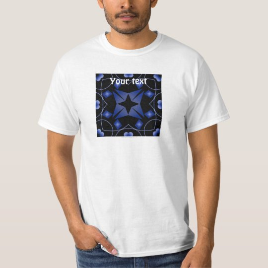 Black and Blue Star Kaleidoscope Abstract T-Shirt