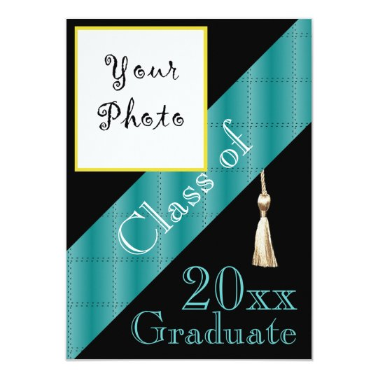 Black and Blue stripe Graduation party photo Card