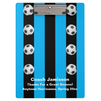Black and Blue Stripe, Thank You Soccer Coach Clipboard