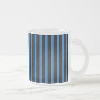 Black and Blue Stripes 10 Oz Frosted Glass Coffee Mug