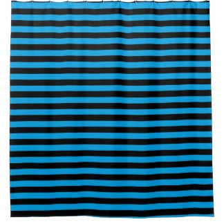 Black And Blue Stripes Shower Curtains | Zazzle