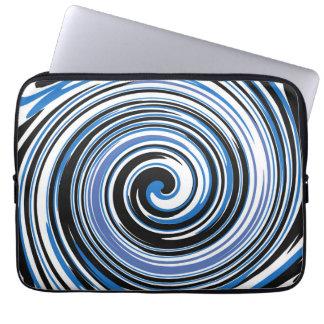 Black and blue swirl design laptop sleeve