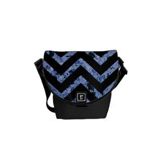 Black and Blue Textured Chevron Handbag Messenger Bags