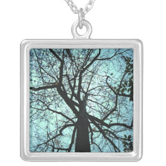 Black and Blue Tree Branches Silver Plated Necklace