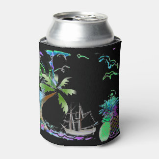 Black and Blue Tropical Island Breeze Can Cooler