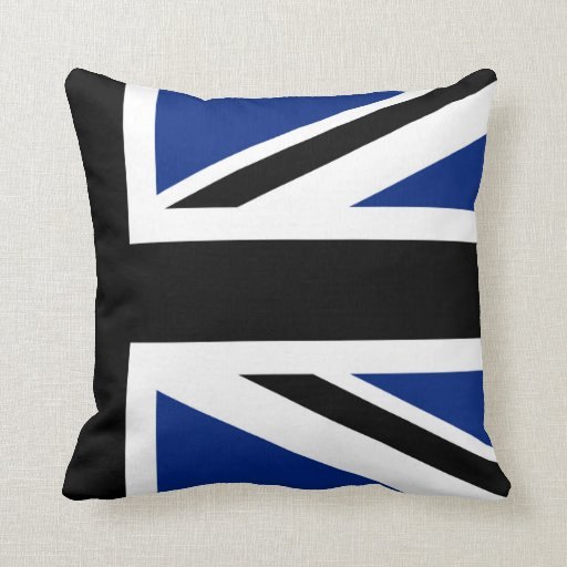 Black and Blue Union Jack Half Throw Pillow Zazzle