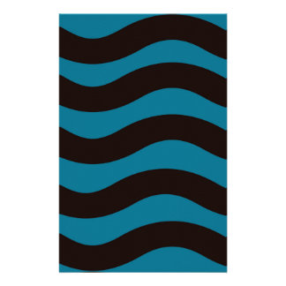 Black and Blue Wavy Stripes Stationery