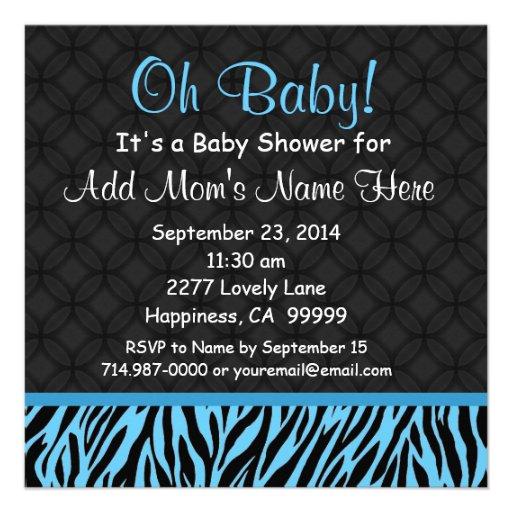 Black and Blue Zebra Print Ver 2 Boy Baby Shower Personalized Invites