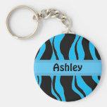 Black and Blue Zebra Stripe Personalized Keychain