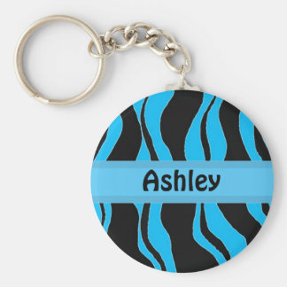 Black and Blue Zebra Stripe Personalized Keychain
