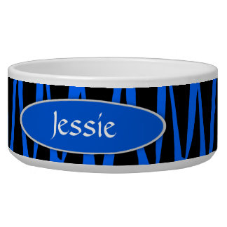 Black and Blue Zebra Stripes Personalized Dog Food Bowls