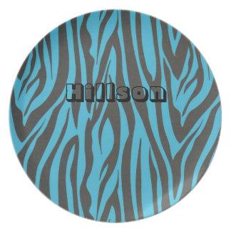Black and Blue Zebra Stripes Plate