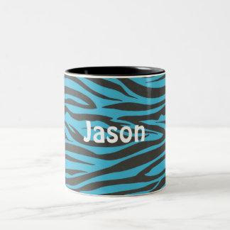 Black and Bright Blue Custom Zebra Mug