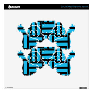 Black and Bright Blue T Weave PS3 Controller Skin