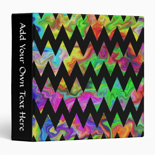 Black and Bright Multicolored Zigzags. 3 Ring Binders