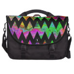 Black and Bright Multicolored Zigzags. Bag For Laptop