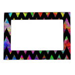 Black and Bright Multicolored Zigzags. Picture Frame Magnet