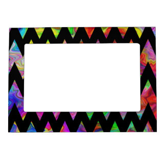 Black and Bright Multicolored Zigzags. Magnetic Picture Frame
