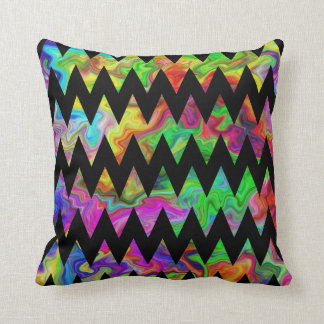 Black and Bright Multicolored Zigzags. Throw Pillow