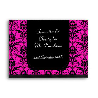 Black and bright pink damask envelope