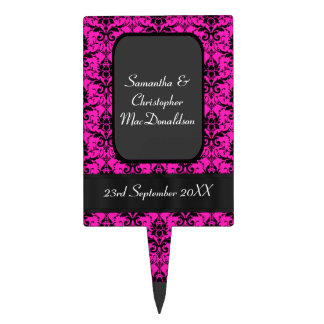 Black and bright pink damask wedding cake topper